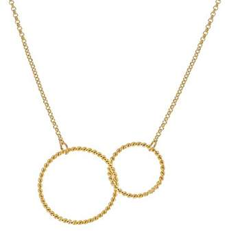 Medecine Douce Women's Gold Plated Brass Elizabeth 2 Circles Chained Necklace of Length 50cm ELIZNE2C