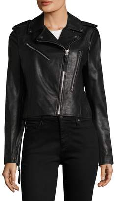 Derek Lam 10 Crosby Multi Zipper Detailed Leather Jacket