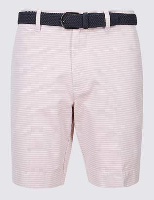 Marks and Spencer Pure Cotton Striped Shorts with Belt