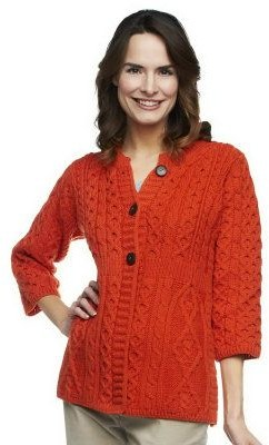 Carraigdonn Carraig Donn Kilronan Merino Wool Empire Waist 3/4 Sleeve Cardigan