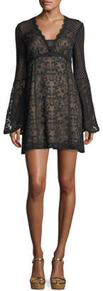 Nanette Lepore Samba V-Neck Bell-Sleeve Mini Dress
