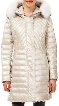 Gorski Quilted Puffer Ski Jacket w/ Detachable Fox-Fur Trim