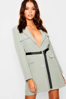 boohoo Utility Belted Blazer Dress