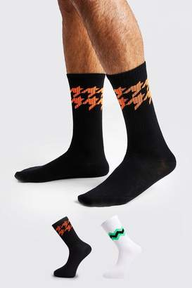boohoo 2 Pack Neon Jacquard Socks