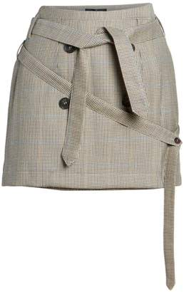 Rokh Belted Wool Mini Skirt
