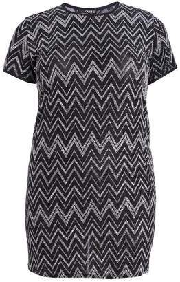 Quiz Curve Black and Silver Zig Zag Tunic Dress