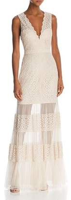 BCBGMAXAZRIA Sleeveless Lace Sheer-Hem Gown