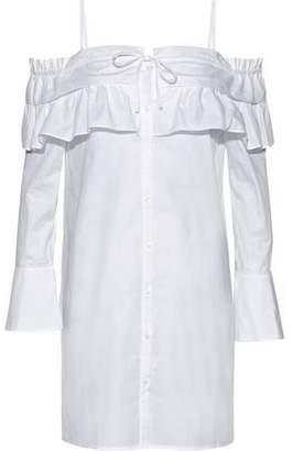 Rebecca Minkoff Pallas Cold-Shoulder Ruffled Cotton-Poplin Mini Dress