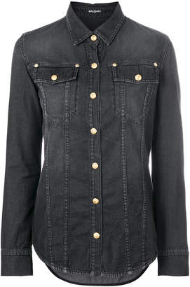 Balmain button-embellished denim shirt