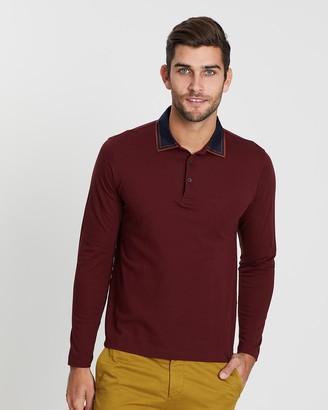 Cerruti Outlined Collar Long Sleeve Polo Shirt