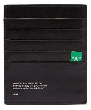 Off-White Off White Stripe Print Leather Cardholder - Mens - Black White