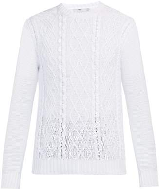 Inis Meáin Inis Meain - Cable Knit Cotton Sweater - Mens - White
