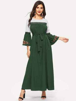 Shein Lace Insert Embroidered Flower Belted Maxi Dress