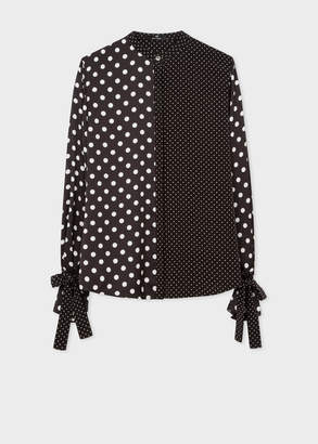 Paul Smith Women's Black And White Polka Dot Shirt With Tie Cuffs