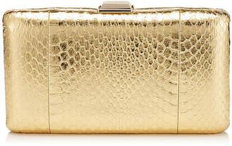 Jimmy Choo CLEMMIE Gold Metallic Elaphe Clutch Bag