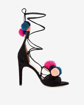Express Multicolor Pom-Pom Lace-Up Pump