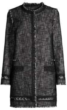 Elie Tahari Shanie Long Tweed Coat