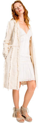 Max Studio fringed basketweave coat