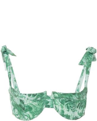 Ganni Recycled Fabric Printed Bikini Top Size: 32