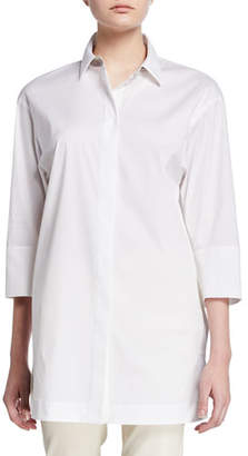 Lafayette 148 New York Plus Size Button-Down 3/4-Sleeve Shirt with Chain Detail