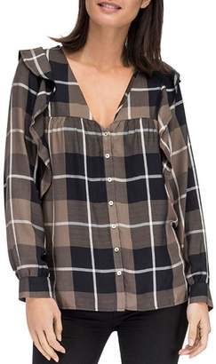 Bobeau B Collection by Pangra Plaid Ruffle Blouse