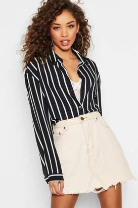 boohoo Oversized Button Through Stripe Shirt