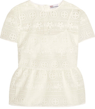 REDValentino - Crocheted Lace Peplum Top - White $495 thestylecure.com