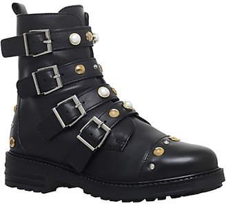 Carvela Swish Buckle Embellished Ankle Boots, Black