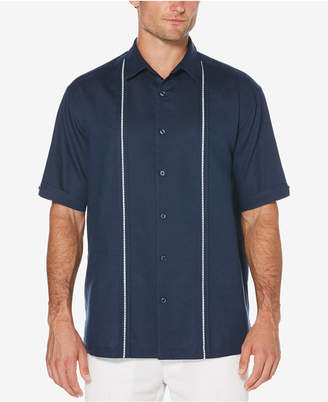 Cubavera Men's Big & Tall Linen Blend Pickstitch Panel Shirt