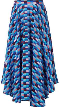 Riviera Lhd LHD - French Asymmetric Printed Silk Crepe De Chine Skirt - Blue