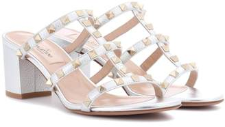 Valentino Rockstud metallic leather sandals