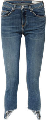 Rag & Bone The Capri Distressed Low-rise Skinny Jeans - Mid denim