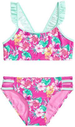 2-Pc. Floral-Print Ruffled Bikini, Big Girls