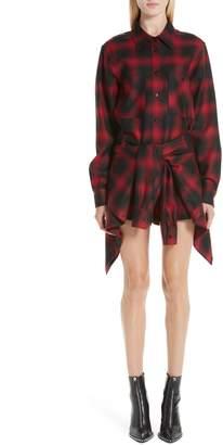 Alexander Wang Tie Waist Wool Flannel Shirtdress