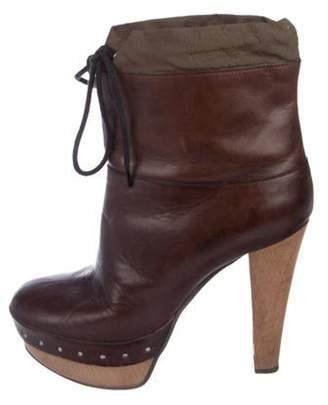 Marni Leather Platform Boots Brown Leather Platform Boots