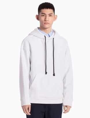 Calvin Klein cotton knit drawstring hooded sweatshirt