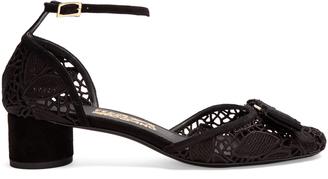 SALVATORE FERRAGAMO Enny lace block-heel pumps $500 thestylecure.com