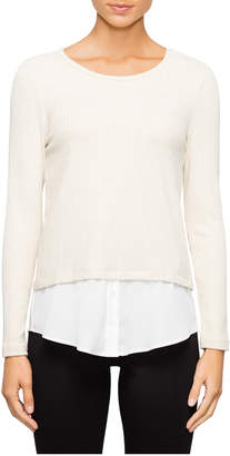 Lurex Knit Top with Decorate Shirt Detail