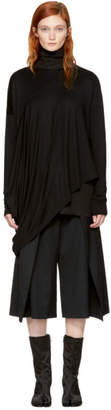 MM6 Maison Martin Margiela Black Long Sleeve Draped T-Shirt