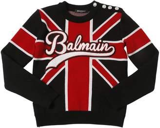 Balmain Union Jack Wool Knit Sweater