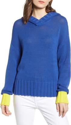 Treasure & Bond Contrast Cuff Hooded Sweater
