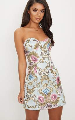 PrettyLittleThing Dusty Blue Baroque Print Bandeau A Line Dress