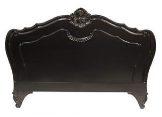 French Provincial Louis Headboard Size: King, Finish: Black
