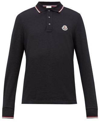 Moncler Logo Applique Cotton Pique Long Sleeve Polo Shirt - Mens - Navy