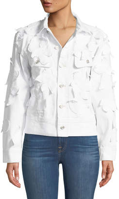 Oscar de la Renta Leaf Applique Denim Jacket