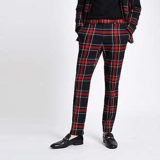 River Island Black plaid check skinny fit suit pants