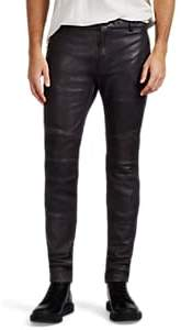 Balmain MEN'S LEATHER SKINNY BIKER JEANS
