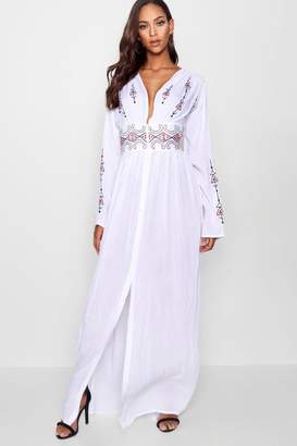 boohoo Tall Embroidered Plunge Maxi Dress