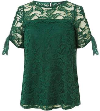 Dorothy Perkins Womens Green Lace Tie Sleeve Top