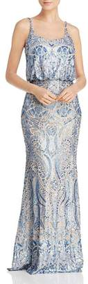 Aqua Sequin Lace Blouson Gown - 100% Exclusive